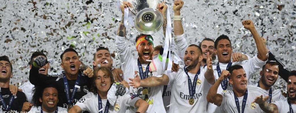 MILAN, ITALY - MAY 28: Sergio Ramos of Real Madrid lifts the Champions League trophy after victory in the UEFA Champions League Final match between Real Madrid and Club Atletico de Madrid at Stadio Giuseppe Meazza on May 28, 2016 in Milan, Italy. (Photo by Laurence Griffiths/Getty Images)