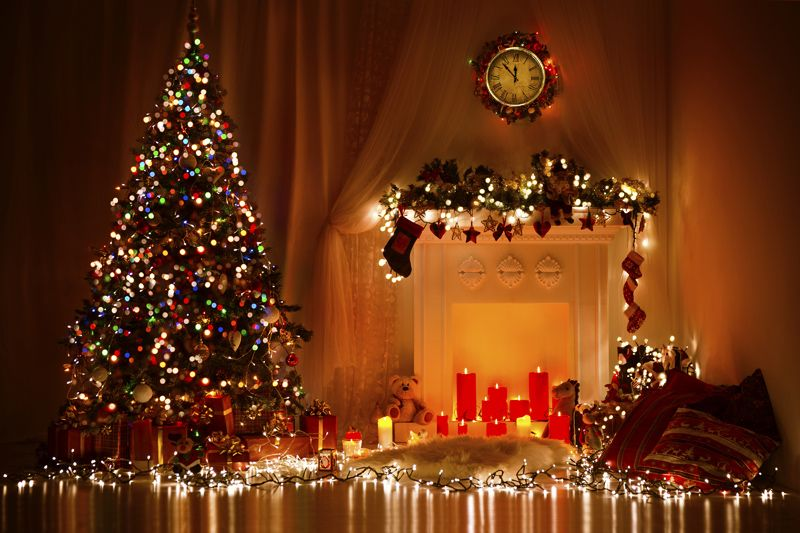 Christmas Room Interior Design, Xmas Tree Decorated Presents, Gifts, Candles